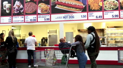 People line up for buying foods at Costco store with 4k resolution. Stock Footage
