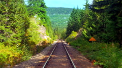 4K Railroad Landscape Perspective, Mountains and Nature Stock Footage