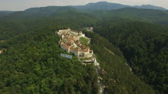 AERIAL: View of Rasnov Fortress, in the district of Brasov, Romania Stock Footage
