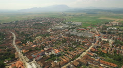 Typical Transylvanian village viewed from above Stock Footage