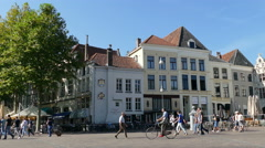 People walking on the Brink in Deventer Stock Footage