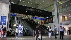 Time lapse of people walking around Tenjin subway station in Fukuoka Stock Footage