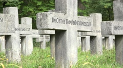 Stone crosses in Christian cemetery Stock Footage