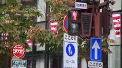Trafic lights for pedestrian crossing and traffic signs Stock Footage