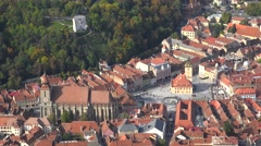 Top view timelapse of Brasov city in Romania Stock Footage
