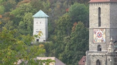 Gothic church tower and beautiful medieval clock of the Black Church, Romania Stock Footage