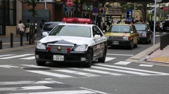 Cars on the road around commercial and business centre of city in Fukuoka Stock Footage