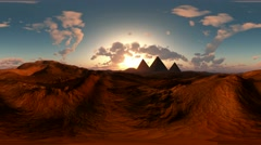 Panoramic of egyptian pyramid in desert at sunset. made with the one 360 degree Stock Footage