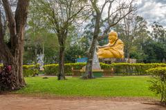 Buddhist temple with giant Buddha statue in Foz do iguacu Stock Photos