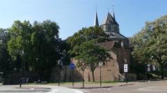 Saint Nicolaas Church and Bike path Stock Footage