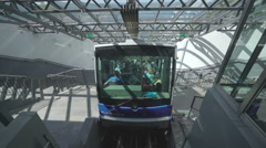 Cable car, funicular in Bergen, Norway - Ulriken, Ulrikesbanen Stock Footage