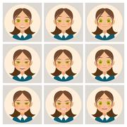 Womens faces with different emotions. Vector Stock Illustration