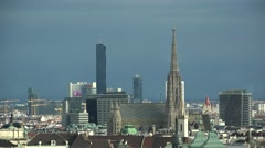 Top panorama of Vienna city center, St. Stephen's Cathedral in background Stock Footage