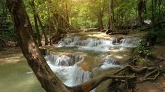 Beauty nature scene huay khamin waterfall in thailand Stock Footage