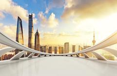 Cityscape and skyline of shanghai from abstract window Kuvituskuvat