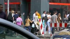 4K Tourists Muslim family in Burka Burqa headscarf shopping in European city Stock Footage
