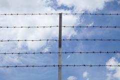 Barbed wire against the sky, Backgrounds Stock Photos