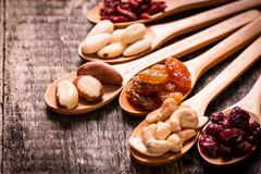Mix nuts seeds and dry fruits,healthy superfood,vegan food Stock Photos