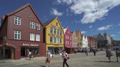 Colorful buildings in Bergen downtown - Norway Stock Footage