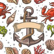 Seamless pattern sea shell, coral, crab and anchor with ribbon Stock Illustration