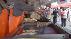 Grilled seafood in Torget fish market - Bergen, Norway Stock Footage