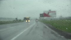 Driving on a rainy day, car windscreen window front view Stock Footage