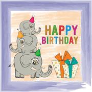 Childish birthday card with funny elephants Stock Illustration