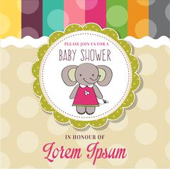 Baby shower card with cute little mouse Stock Illustration