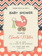 Beautiful baby girl shower card with stroller Stock Illustration