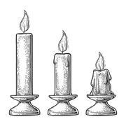 Process of candle burning Stock Illustration