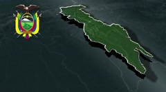 Sucumbios with Coat Of Arms Animation Map Stock Footage
