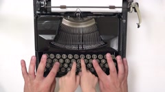 Adult and child hands typing on old typewriter, top view Stock Footage