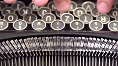 Close-up detail fingers press letter buttons on old vintage typewritter Stock Footage