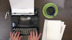 Business man  hands typing at vintage typewriter, take a cup of coffee Stock Footage