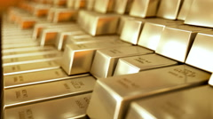 Gold Bars realistic 3D animation Stock Footage