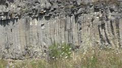 Geologic shapes basalt rock columns wall Stock Footage
