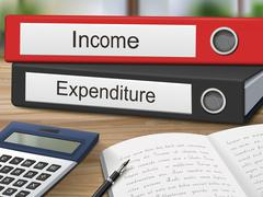 Income and expenditure binders Stock Illustration
