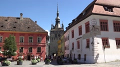Downtown Sighisoara, with its medieval well-preserved architecture Stock Footage