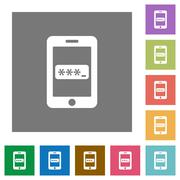 Mobile access square flat icons Stock Illustration