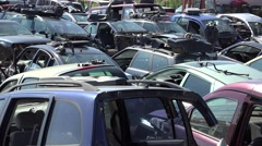 Center for dismantle old damaged cars Stock Footage