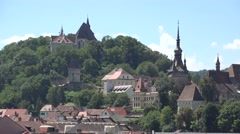 Panorama of Sighisoara medieval city in Romania Stock Footage
