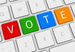 Vote keyboard concept 3d illustration Stock Illustration