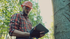Logger in hat looking at tablet Stock Footage