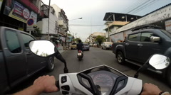 Motorcycle Ride Through Traffic in Chiang Mai, Thailand Stock Footage