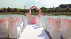 Details of decoration for outdoor wedding ceremony. Stock Footage