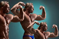 The collage of images  attractive male body builder on blue background Stock Photos