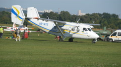 Plane at the Airport. Plane for pilot training ready to take off. Stock Footage