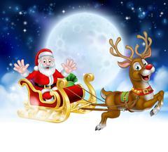 Christmas Cartoon Santa Reindeer Sleigh Scene Piirros
