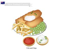 Fish and Chips, A Popular Dish of New Zealand Stock Illustration