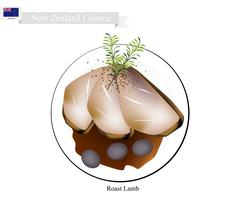 Roasted Lamb Legs, The Popular Dish of New Zealand Stock Illustration